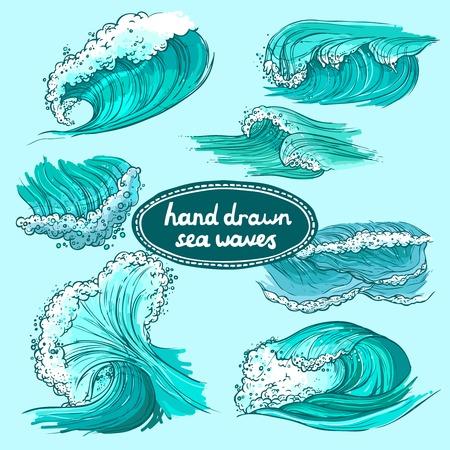 flowing water: Las olas que fluyen dibujado mar oc�ano iconos decorativos de color mano agua conjunto aislado ilustraci�n vectorial