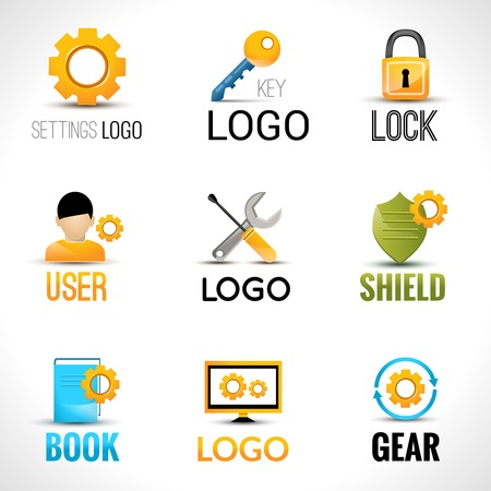 synchronize: Settings key lock user shield book gear set isolated vector illustration