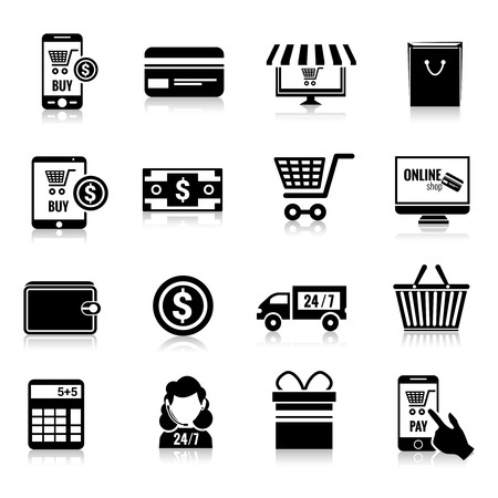 online advertising: Online shopping e-commerce delivery and promotion commercial services black icons set isolated vector illustration