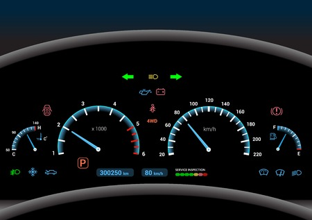 Car dashboard modern automobile control illuminated panel speed display vector illustration Çizim