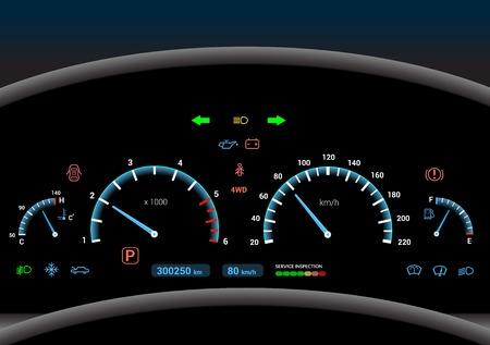 velocímetro: Salpicadero del coche de control automóvil moderno velocidad panel iluminado ilustración de vectores
