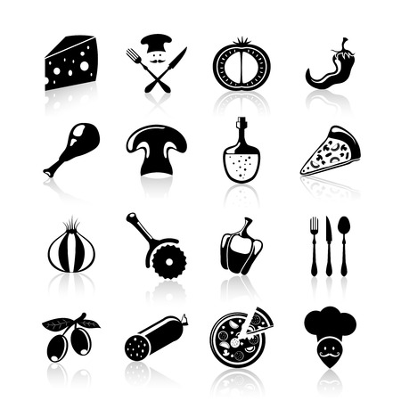 Pizzeria food icons black set with pizza slice pepper mushrooms onion isolated vector illustration