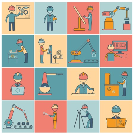 industrial machine: Engineering equipment industrial manufacturing machine operators flat line icons set isolated vector illustration