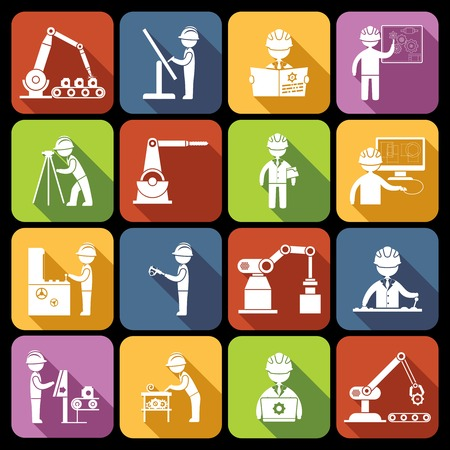 Engineering equipment technician person with work tools and gadgets white icons set isolated vector illustration Ilustração