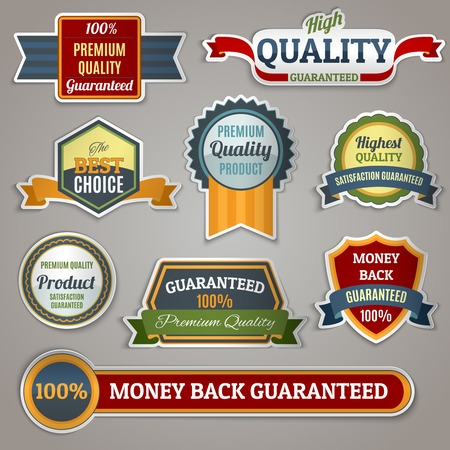 satisfaction guaranteed: Colored premium quality products satisfaction guaranteed sticker labels set isolated vector illustration