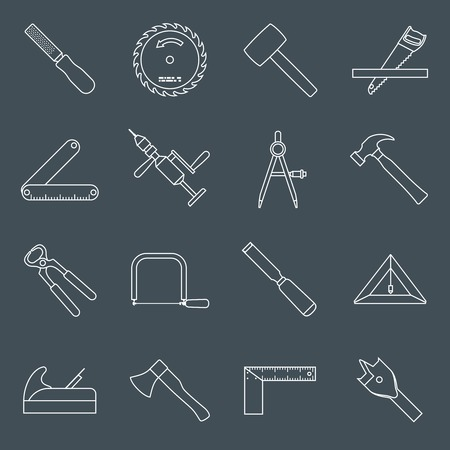 chisel: Carpentry wood work tools and equipment outline icons set with hammer saw pliers isolated vector illustration