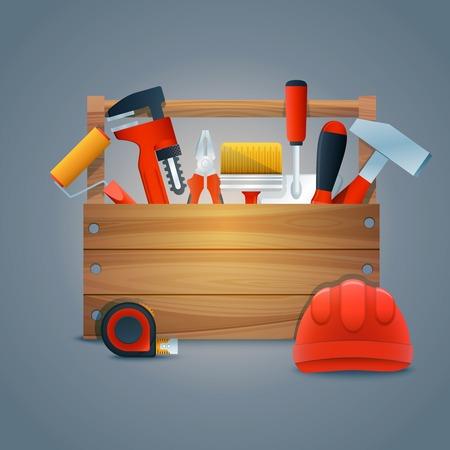 equipos trabajo: Reparaci�n y construcci�n caja de herramientas kit con los equipos de trabajo y las herramientas ilustraci�n vectorial
