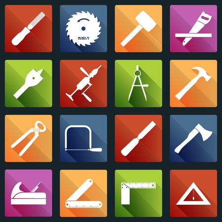 Carpentry wood work white icons tools and equipment with pliers axe saw isolated vector illustration Vector