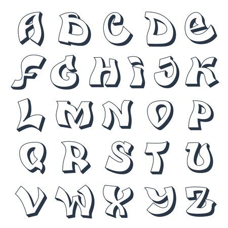 落書きアルファベット クールなストリート スタイル フォント デザイン白いベクトル イラスト