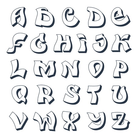Graffiti alphabet cool street style font design white vector illustration Çizim