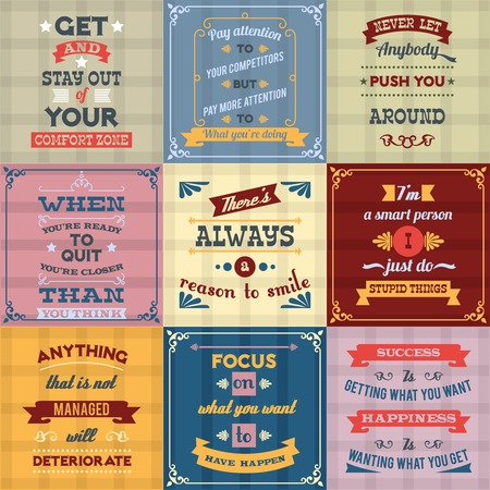 quotes: Success motivational success life and inspiration quotes colored labels set isolated vector illustration