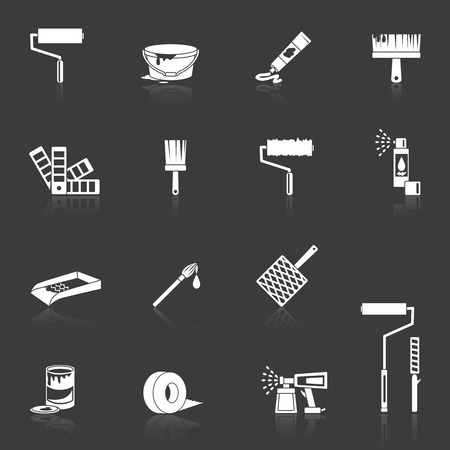 house painter: Painting house work painter tools icons white set isolated vector illustration Illustration