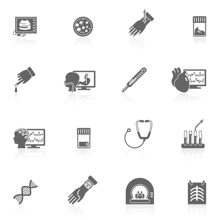 Medical tested health care black icons set with ultrasound x-ray phonendoscope isolated vector illustration Illustration