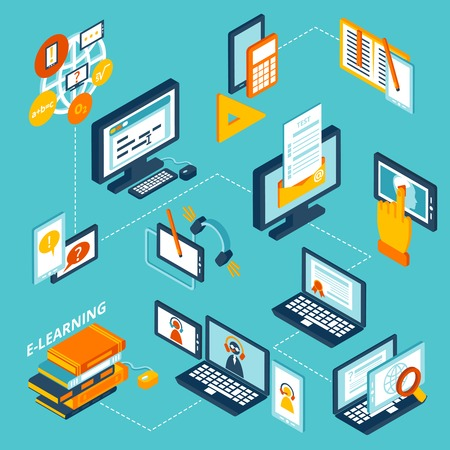 E-learning isometric icons set with computer notebook and books isolated vector illustration Çizim