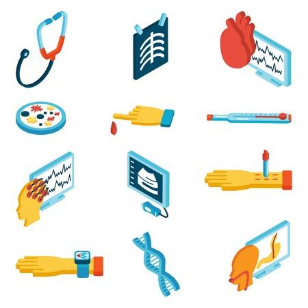 phonendoscope: Medical isometric icons set with phonendoscope blood test dna isolated vector illustration