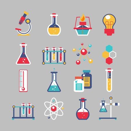 Chemie decoratieve pictogrammen die met chemische lab wetenschappelijk experiment apparatuur geïsoleerd vector illustratie Stock Illustratie