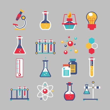 qu�mica: Iconos decorativos Qu�mica establecen con laboratorio de qu�mica equipo experimento cient�fico aislado ilustraci�n vectorial