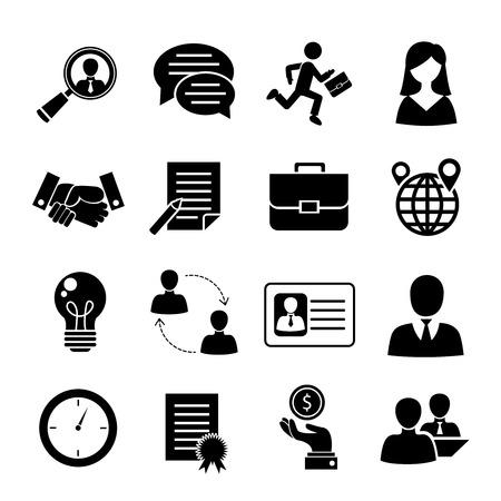 Los iconos negros de la entrevista de trabajo fijados con la búsqueda de trabajo entrevistan el ejemplo aislado del vector del reclutamiento.
