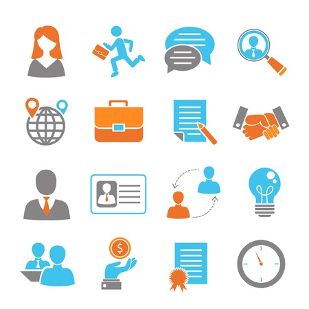 Iconos de colores para entrevistas de trabajo establecidos con aislados empleo asalariado apretón de manos ilustración vectorial