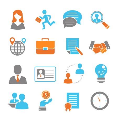 Sollicitatiegesprek gekleurde pictogrammen die met geïsoleerd handdruk salaris werkgelegenheid vector illustratie