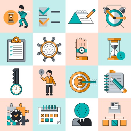 Time management work productivity successful manager flat line icons set isolated vector illustration Vector
