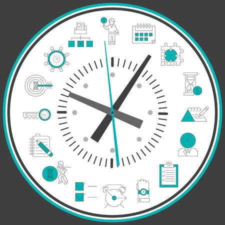 human resource management: Time management concept with successful business working people decorative elements in clock circle vector illustration