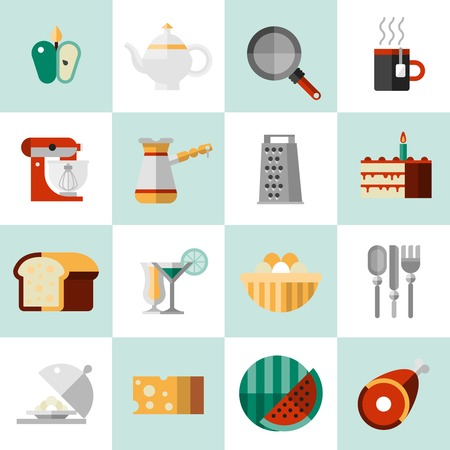tea set: Cooking food icons set with seasoning tea pot pan mug isolated vector illustration