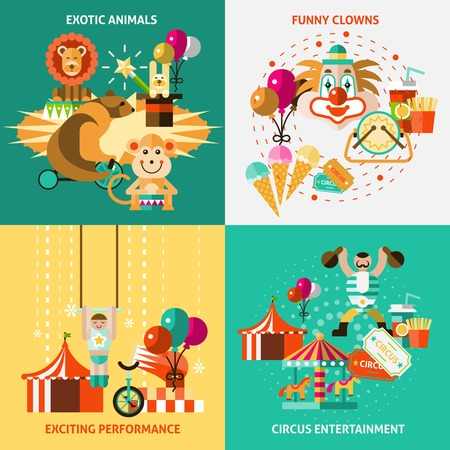 circus ticket: Circus entertainment flat icons set with exotic animals funny clowns exciting performance isolated vector illustration