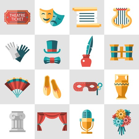Theatre acting performance icons set with  ticket masks flat isolated vector illustration. Illustration