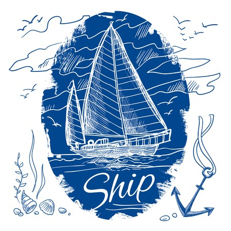 schooner: Nautical emblem with blue colored sketch sailing schooner ship and sea background vector illustration