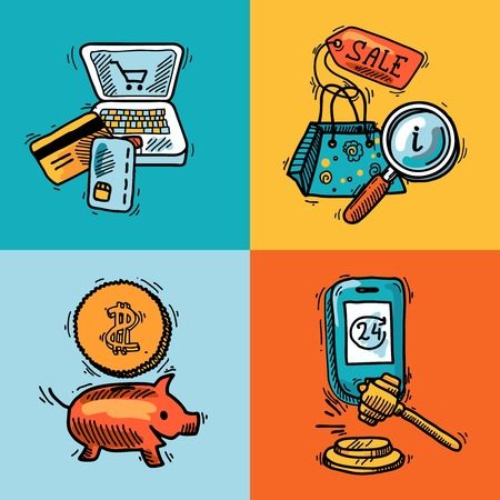 E-commerce shopping concept icons sketch set of sale tag credit card piggy bank isolated vector illustration Vector