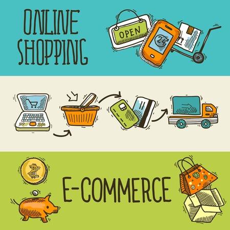 E-commerce online winkelen banner schets set van levering truck credit card spaarvarken geïsoleerd vector illustratie