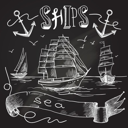 anchor background: Ship chalkboard poster with sea birds anchors and sailing elements vector illustration.