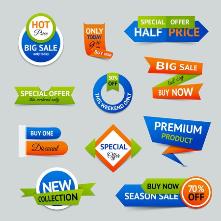color design: Discount super sale special offer retro color origami ribbon banner set isolated vector illustration Illustration