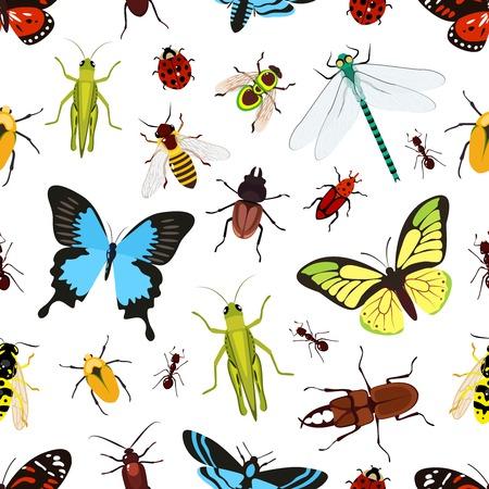 Insekten farbigen nahtlose Muster mit Heuschrecke Wespe Schmetterling Vektor-Illustration