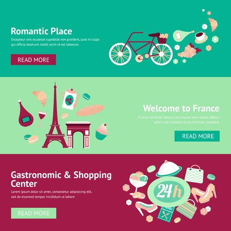 France banner set with romantic place welcome gastronomic and shopping center isolated vector illustration Vector