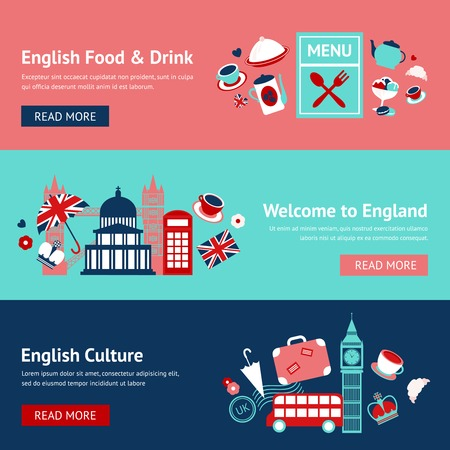 english culture: England banner set with english food and drink culture isolated vector illustration
