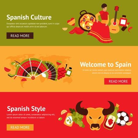 スペイン文化スタイル分離ベクトル イラスト入りスペイン バナー