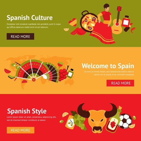 spanish bull: Spain banner set with spanish culture style isolated vector illustration