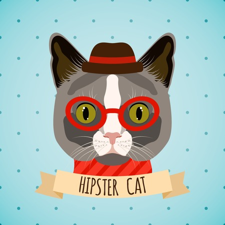 glass art: Hipster cat with glasses and hat portrait with ribbon poster vector illustration.