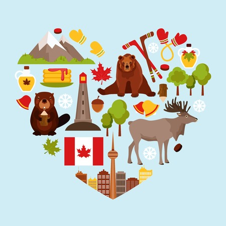 canadian icon: Canada colored decorative elements set in heart shape vector illustration.