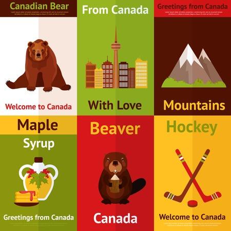 maple syrup: Canad� Mini cartel de color ajustado con monta�as oso canadiense jarabe de arce hockey castor aislado ilustraci�n vectorial