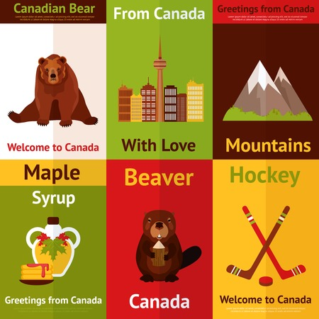 Canada colored mini poster set with canadian bear mountains maple syrup beaver hockey isolated vector illustration Vector