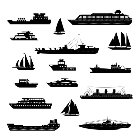 Ships and boats steamboat yacht and tanker freight industry decorative icons black and white set isolated vector illustration Vectores