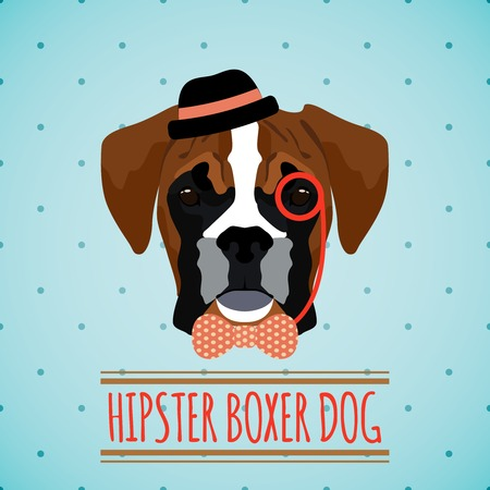boxer dog: Hipster boxer dog with hat monocle and bow tie portrait with ribbon poster vector illustration