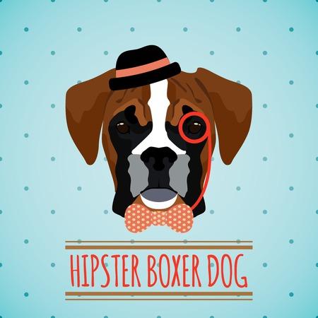 perro boxer: Perro boxer Hipster con monóculo sombrero y el arco retrato empate con el cartel de la cinta ilustración vectorial