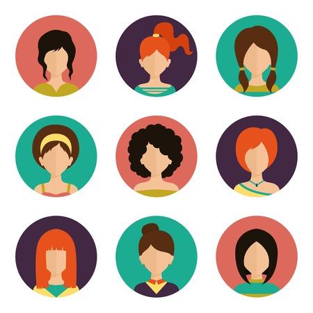 Women avatar female human faces social network icons set isolated vector illustration Banco de Imagens - 33846177