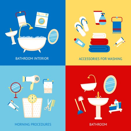 plumbing accessories: Bathroom flat colored icons set with interior accessories for washing morning procedures isolated vector illustration