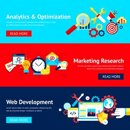 web development: SEO flat banner set with analytics and optimization marketing research web development isolated vector illustration