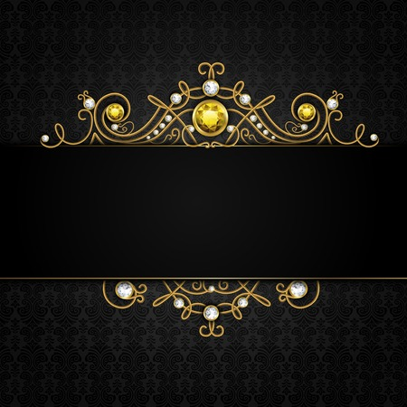 gems: Jewellery black background with unique classic vintage golden diamond gems tiara vector illustration